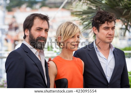Cannes, France - 19 MAY 2016 - Stefano Mordini, Marina Fois and Riccardo Scamarcio attend the 'Pericle Il Nero' Photocall at the annual 69th Cannes Film Festival - stock photo