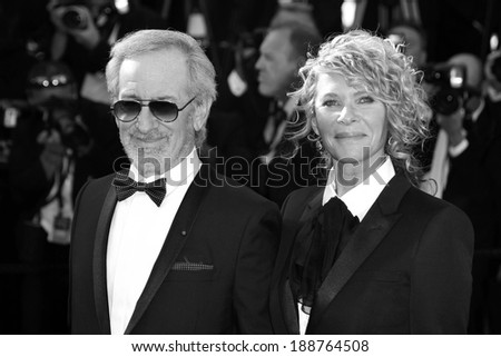 CANNES, FRANCE - MAY 25 : Steven Spielberg and his wife, actress Kate Capshaw attend the premiere of 'Venus in Fur' during the 66th Cannes Film Festival on May 25, 2013 in Cannes, France - stock photo