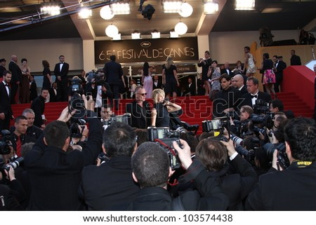 CANNES, FRANCE - MAY 26: Sting and Trudie Styler attend the 'Mud' Premiere during the 65th Annual Cannes Film Festival at Palais des Festivals on May 26, 2012 in Cannes, France. - stock photo