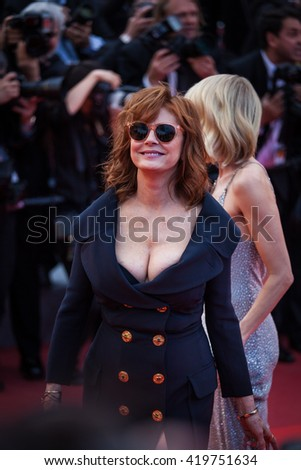 Cannes, France - 12 MAY 2016 - Susan Sarandon attends the 'Money Monster' premiere during the 69th annual Cannes Film Festival - stock photo