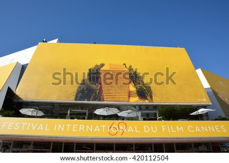 CANNES,FRANCE-MAY 14: The poster for the 69th International Film Festival shown on may14, 2016 in Cannes,France.This year it is a film frame of Jean Luc Godard which was chosen for the official poster - stock photo