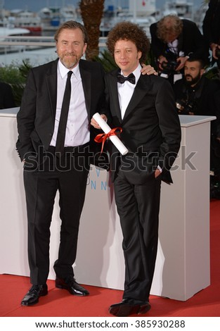 CANNES, FRANCE - MAY 24, 2015: Tim Roth & Michel Franco - winner of Best Screenplay Award - at the winners' photocall at the 68th Festival de Cannes. - stock photo