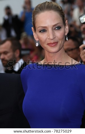 CANNES, FRANCE - MAY 22: Uma Thurman attends the 'Les Bien-Aimes' premiere at the Palais des Festivals during the 64th Cannes Film Festival at Palais des Festivals on May 22, 2011 in Cannes, France. - stock photo