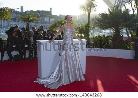 CANNES, FRANCE - MAY 26: Uma Thurman attends the Palme D'Or Winners Photocall during the 66th  Cannes Film Festival at the Palais des Festivals on May 26, 2013 in Cannes, France. - stock photo