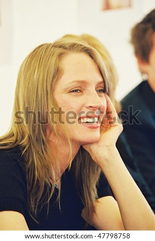CANNES, FRANCE - MAY 11:  Uma Thurman poses during the photocall of the film 'Chelsea Walls' presented for the 33rd Directors' Fortnight during the 54th Cannes  Festival 11 May 2001 in Cannes, France