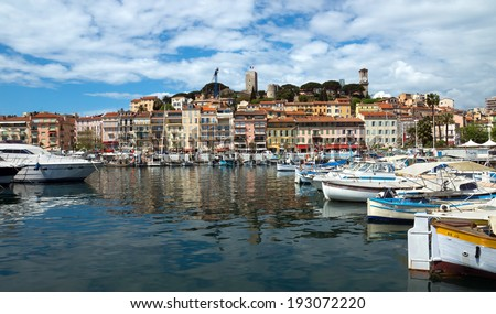 CANNES, FRANCE - MAY 6: View of Le Suquet- the old town and Port Le Vieux on May 6, 2013 in Cannes, France. City founded by the Romans in 42 BC.  - stock photo
