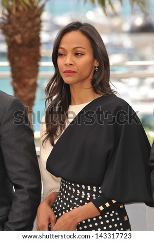"CANNES, FRANCE - MAY 20, 2013: Zoe Saldana at the photocall for her movie ""Blood Ties"" at the 66th Festival de Cannes."
