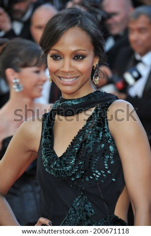 "CANNES, FRANCE - MAY 15, 2014: Zoe Saldana at the premiere of ""Mr. Turner"" at the 67th Festival de Cannes.  - stock photo"