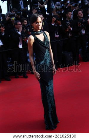 CANNES, FRANCE - MAY 15:  Zoe Saldana attends the 'Mr.Turner' Premiere at the 67th Annual Cannes Film Festival on May 15, 2014 in Cannes, France. - stock photo