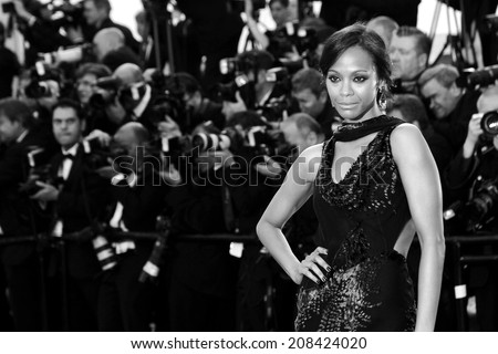 CANNES, FRANCE - MAY 15: Zoe Saldana attends the 'Mr Turner' premiere during the 67th Annual Cannes Film Festival on May 15, 2014 in Cannes, France.