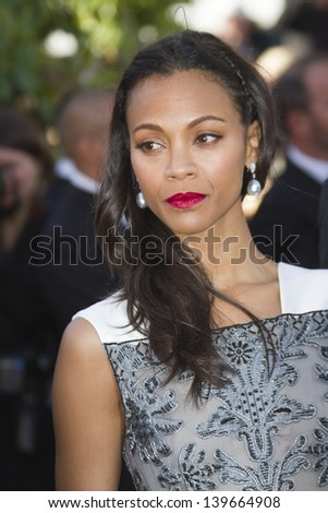 CANNES, FRANCE - MAY 20: Zoe Saldana attends the premiere of 'Blood Ties' during the 66th Annual Cannes Film Festival at the Palais des Festivals on May 20, 2013 in Cannes, France.