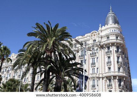 Cannes, France - September 18, 2013: Landscape view of the famous corner dome of the Carlton International Hotel situated on the croisette boulevard in Cannes, France  - stock photo