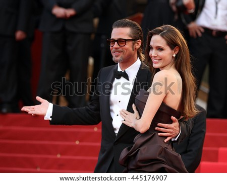 CANNES - MAY 16, 2011: Angelina Jolie and Brad Pitt seen at the Cannes Film Festival on May 16, 2011 in Cannes