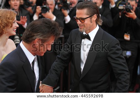 CANNES - MAY 16, 2011: Brad Pitt and Sean Penn seen at the Cannes Film Festival on May 16, 2011 in Cannes