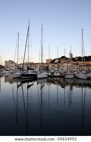 Cannes port on the morning - stock photo