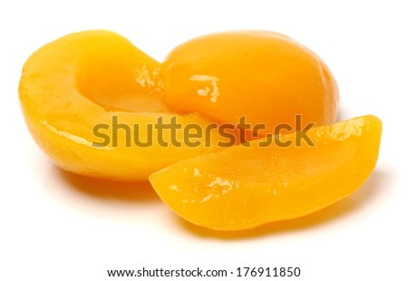 canning peaches isolated on a white background  - stock photo