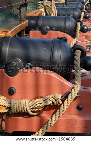 Cannon aboard the USS Constitution in Boston Harbor - stock photo