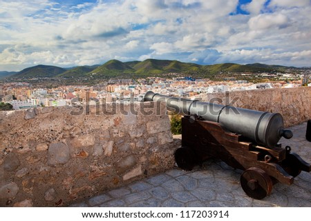 Cannon and panorama of Ibiza - Eivissa. Spain, Balearic islands