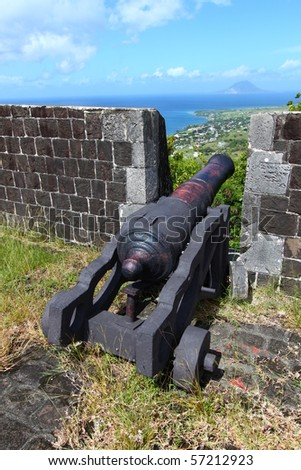 Cannon at Brimstone Hill Fortress - St Kitts - stock photo