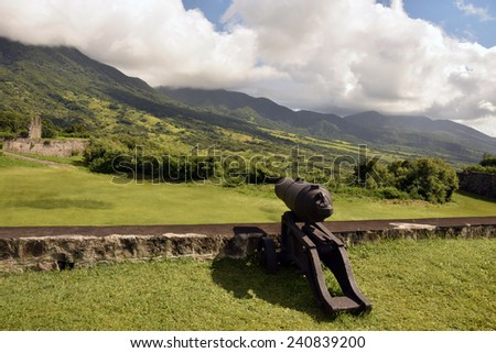 Cannon at Fort George on the Caribbean island of St Kitts - stock photo