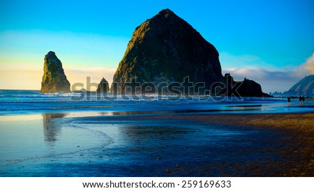 Cannon Beach Sunset.  Oregon Coast USA.  Travel and Vacation Photograph.