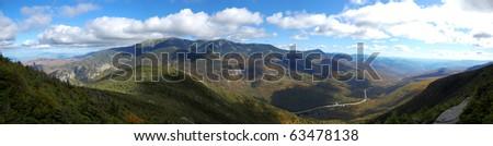 Cannon Mountain top panorama in White Mountain area, New Hampshire, New England, USA - stock photo