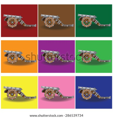 Cannon on color background - stock photo