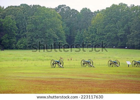 Cannons and deer on battlefield of Shiloh - Shiloh National Military Park, Tennessee - stock photo