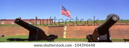 Cannons and wall at Fort McHenry National Monument, Baltimore, Maryland - stock photo