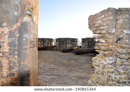 Cannons at Fort Beekenburg, Caracas Bay, Curacao, Netherlands Antilles, West Indies, Central America. The fort was built in 1703 and has been used to fight off pirates, the French and the English. - stock photo