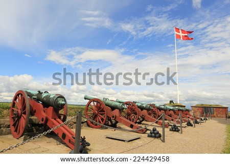 Cannons in Kronborg Castle, Helsingor, Denmark - stock photo