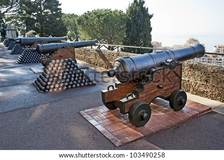 Cannons in the city of Monaco - stock photo
