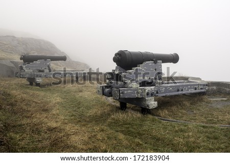 Cannons in the fog, newfoundland