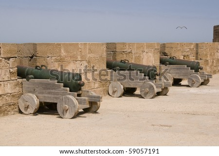 Cannons lining the battlements of the historic Moroccan fishing port of Essaouira in Morocco.