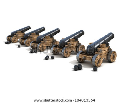 cannons on a white background - stock photo