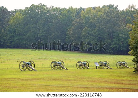 Cannons on Battlefield of Shiloh - Shiloh National Military Park, Tennessee - stock photo