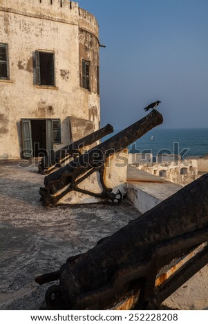 Cannons on Cape Coast Castle, Ghana, West Africa - stock photo