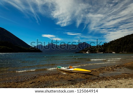 Canoe boat at Huapi Lake, close to Bariloche, Patagonia, Argentina, South America - stock photo