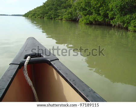 Canoe going down the river - stock photo