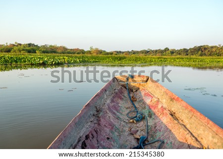 Canoe on a lake in Madidi National Park in Bolivia - stock photo