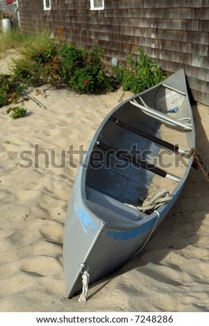 Canoe on Cape Cod - stock photo