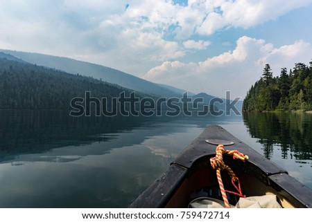 Canoe on clearwater lake canada