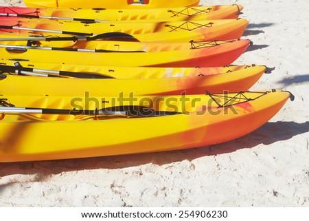 Canoe on sand. The Caribbean Sea. Ocean and summer - stock photo