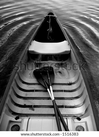 Canoe on the lake - stock photo