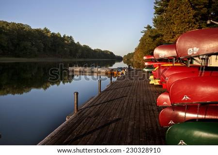 Canoe Rental Lake Huron Pinery Park Canada - stock photo