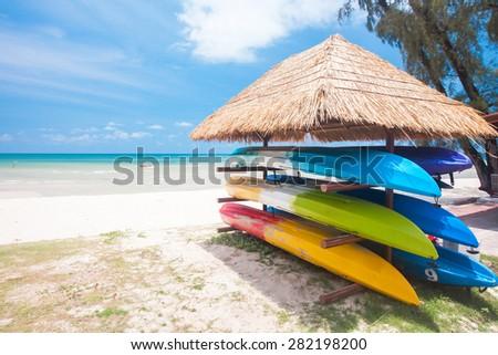 canoe shelf on the tropical beach - stock photo
