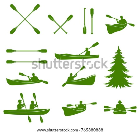 Canoe silhouettes. Rafting. Design elements for label, logo, emblem.