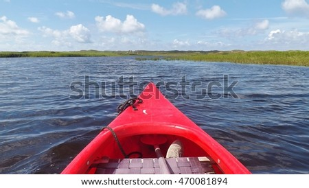 Canoe trip on the fjord, near the town Nymindegab, Denmark, Europe.