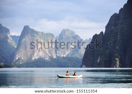Canoeing at Khao Sok National Park in Surattani, THAILAND - stock photo
