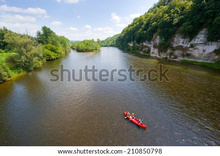 Canoeing on the river Dordogne in France - stock photo